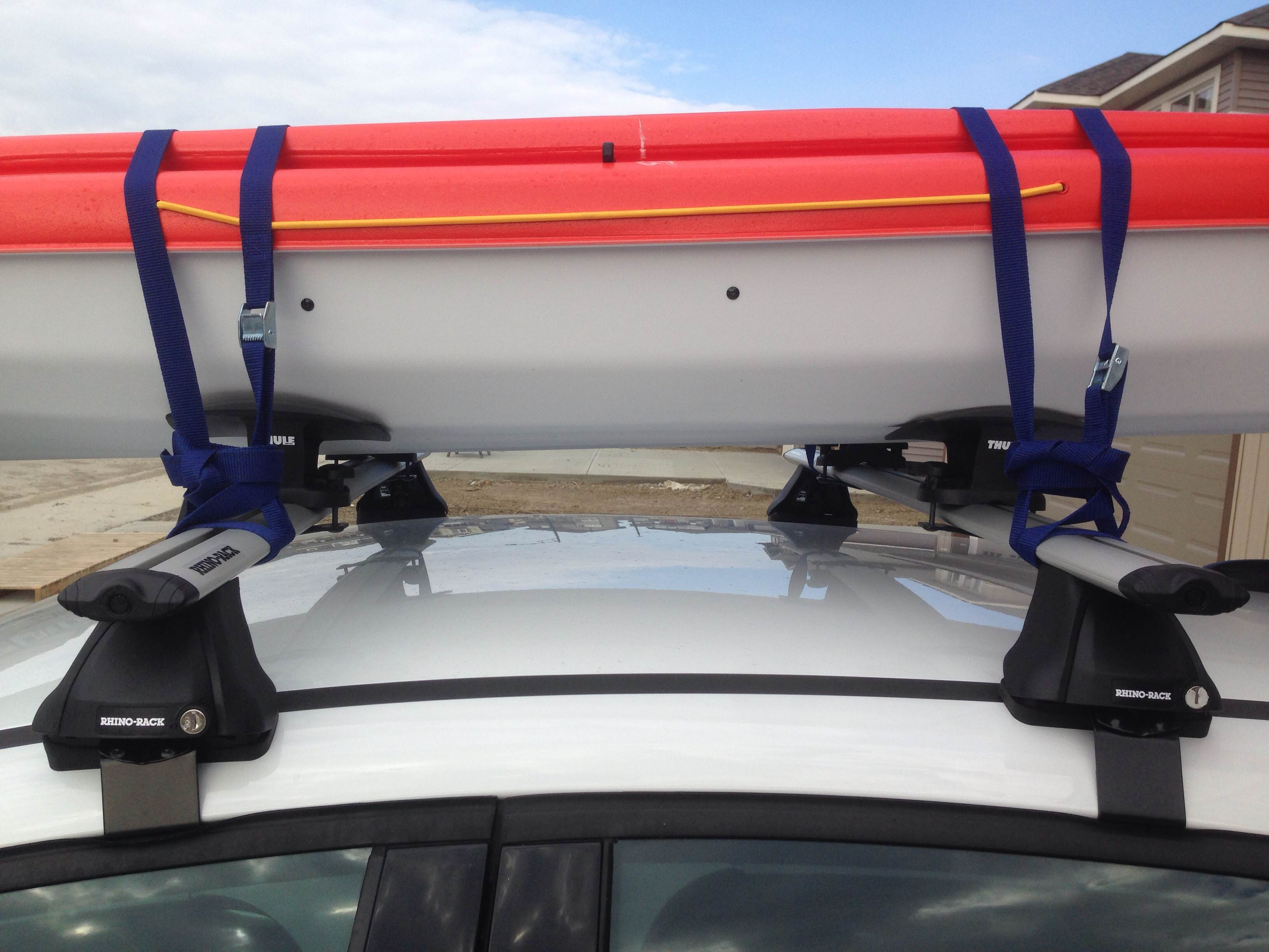Marvelous How To Secure A Kayak On The Car Roof (Pelican Unison 136T Tandem Kayak On  A Small Car Ford Focus 2013)