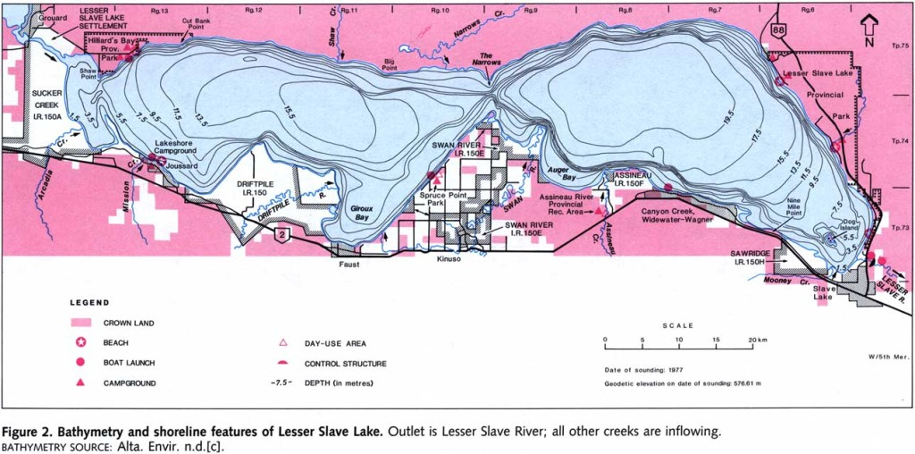 Lesser Slave Lake map and depth chart