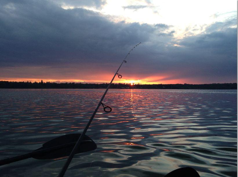 Fishing Sunset Lake Scene (Moose Lake Alberta)